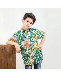 شومیز آستین کوتاه اسپرت پسرانه Farhad طرح هاوایی چند رنگ